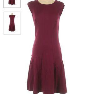 ann taylor drop waist maroon dress